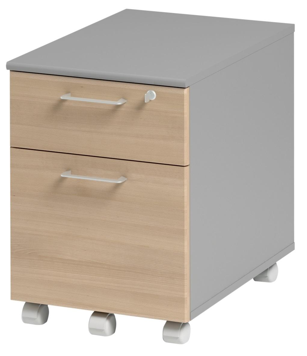 Ladeblok Jazz 1 van 60 cm hoog in beuken met licht grijs | Gamillo Furniture
