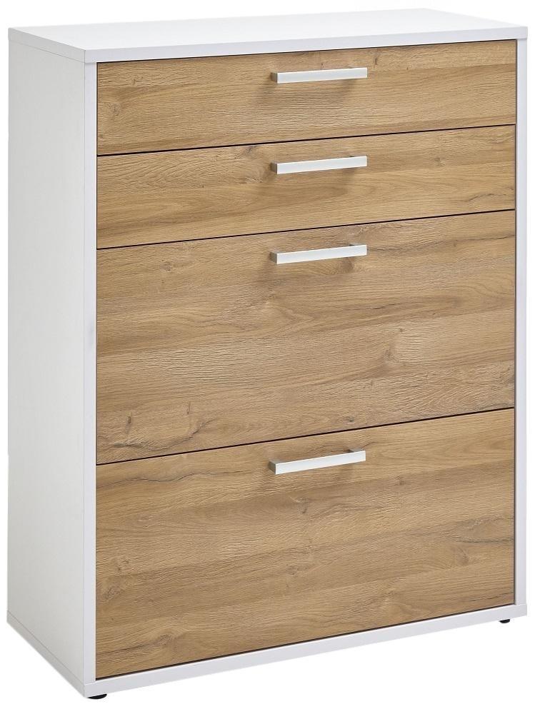 Ladekast Calvia 111 cm hoog – wit met oud eiken   FD Furniture