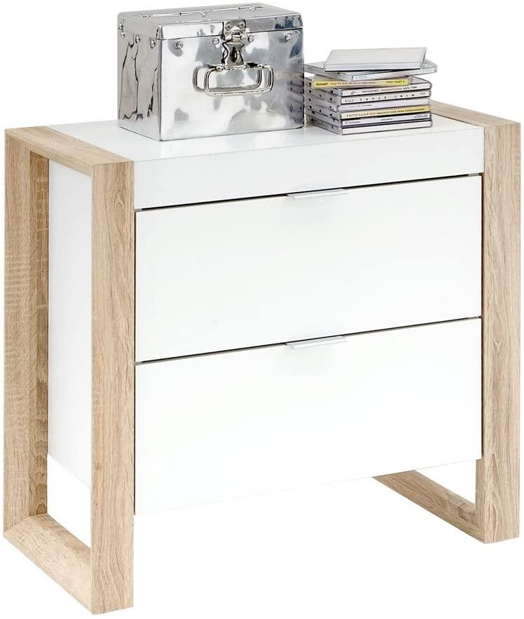 Ladekast Flora 60 cm hoog in wit met eiken   FD Furniture