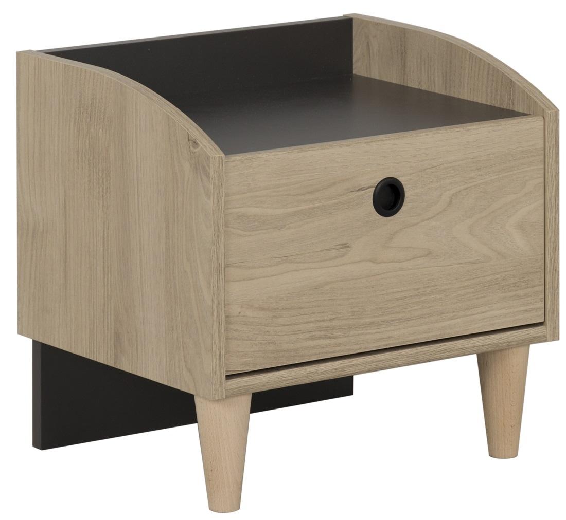 Nachtkastje Axel 42 cm hoog in kastanje met antracietgrijs | Gamillo Furniture
