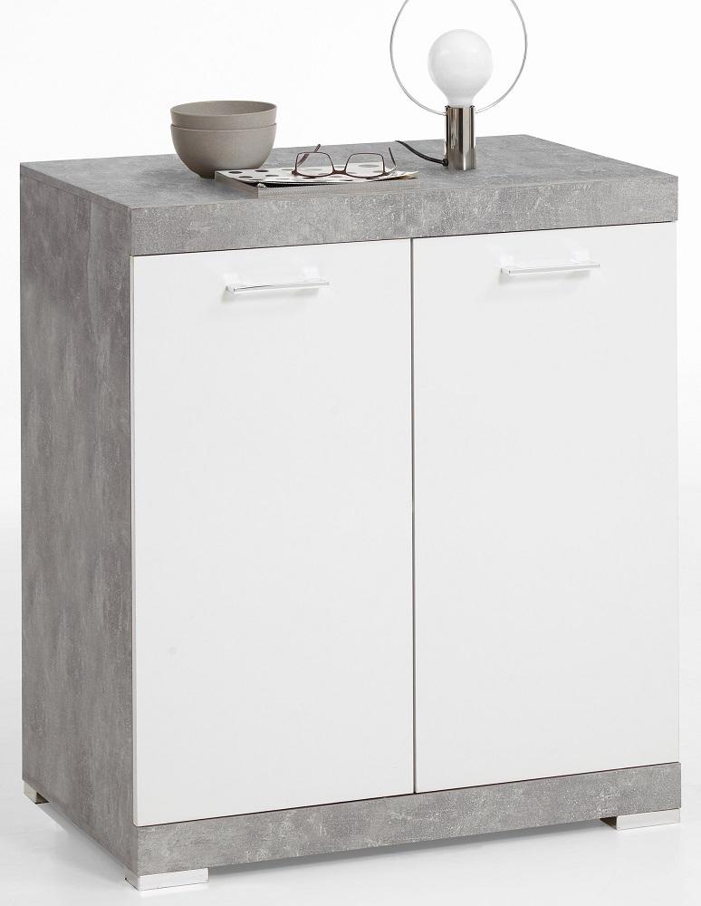 Opbergkast Bristol 1 XL van 90 cm hoog in grijs beton met wit | FD Furniture