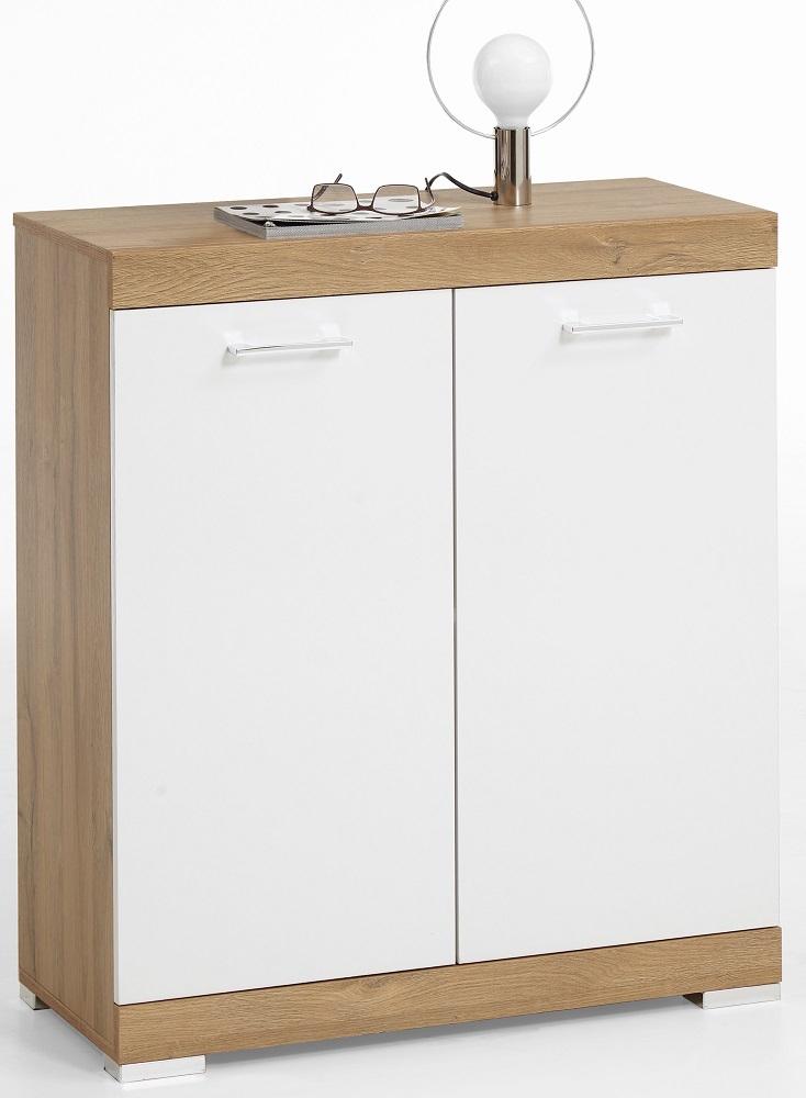 Opbergkast Bristol 1 van 90 cm hoog in oud eiken met wit | FD Furniture