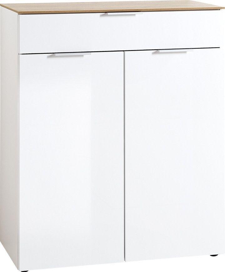 Opbergkast Cetano 106 cm hoog – Hoogglans wit met navarra Eiken | Germania