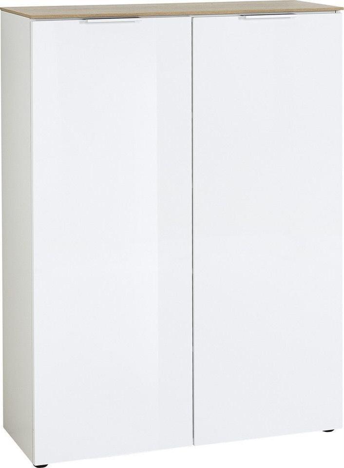 Opbergkast Cetano 121 cm hoog in hoogglans wit met navarra eiken | Germania