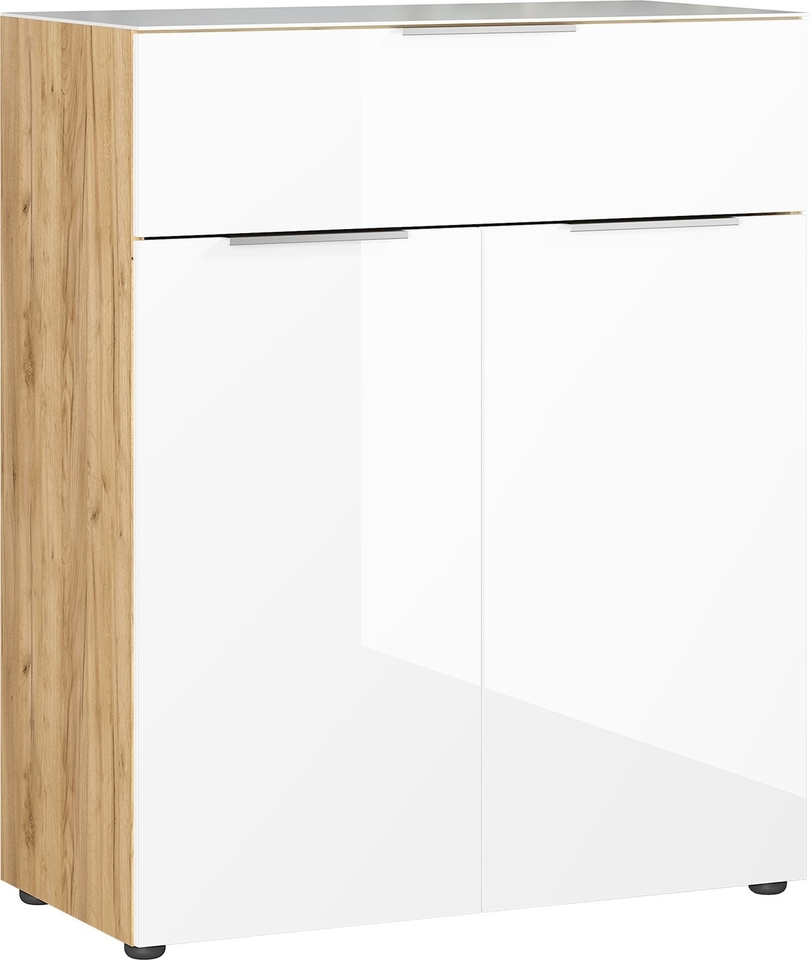 Opbergkast Oakland 102 cm hoog in wit met navarra eiken | Germania
