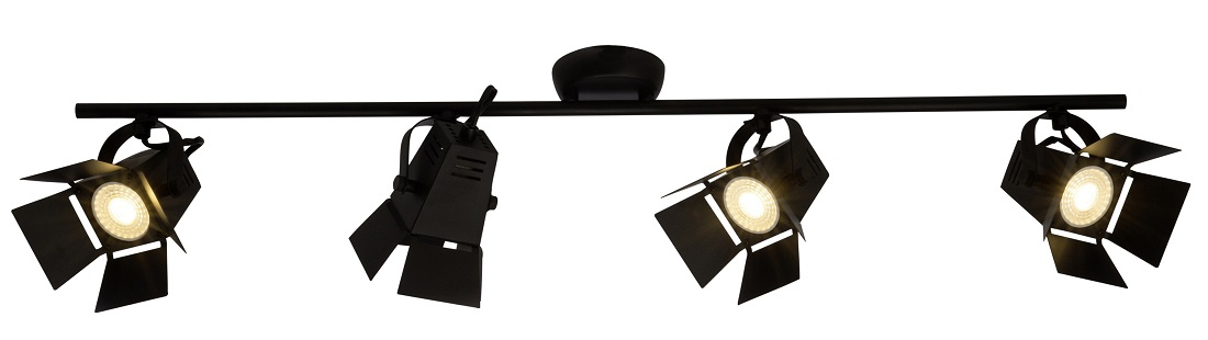 Plafondlamp Move 4xGU10 max 5Watt in mat zwart | Brilliant