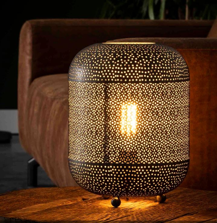 Tafellamp Lampion 33 cm hoog in oud zilver   Zaloni