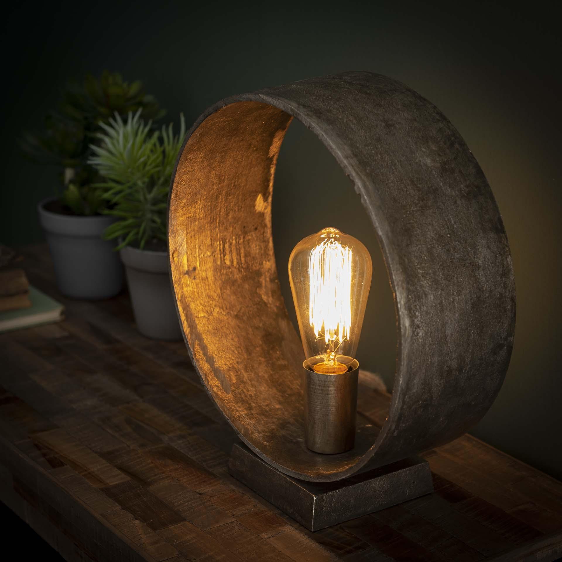 Tafellamp Loop 32 cm hoog in oud zilver   Zaloni