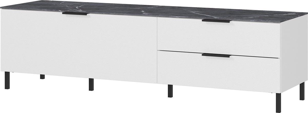 Tv-meubel California 164 cm breed in wit met marmer   Germania