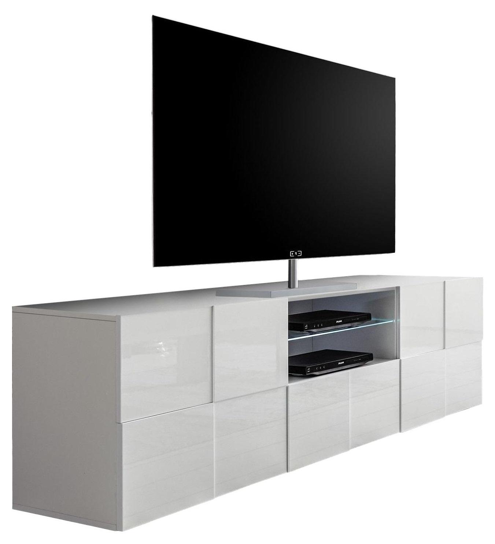Tv-meubel Dama 181 cm breed in hoogglans wit   Pesaro Mobilia