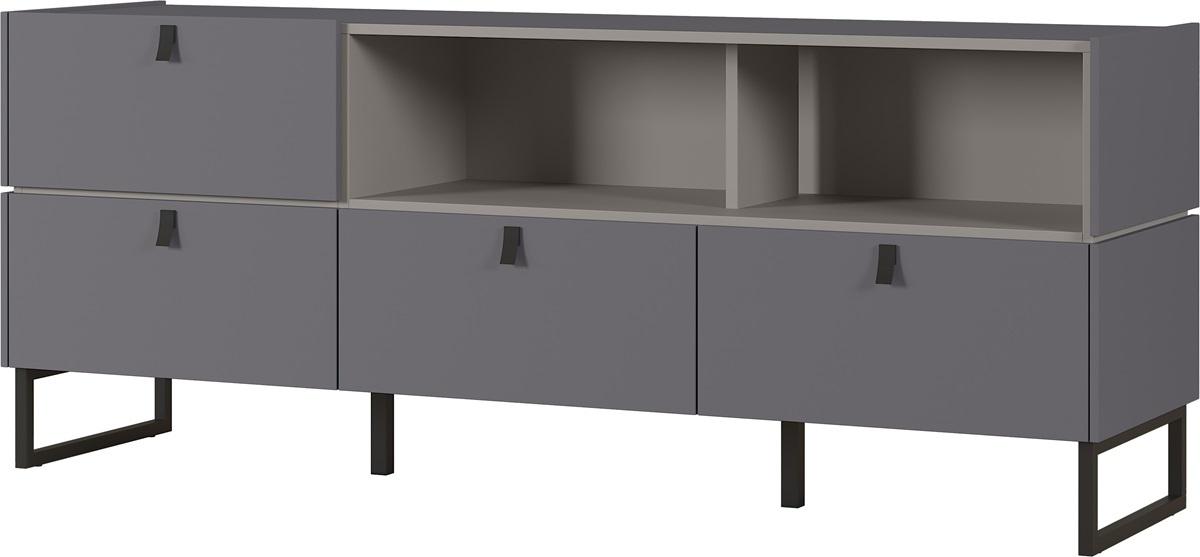 Tv-meubel Mamiko 166 cm breed in grijs met grafiet   Germania