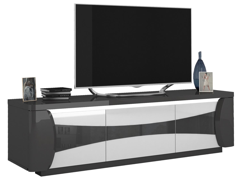Tv-meubel Tiago 180 cm breed in hoogglans antraciet met wit | Ameubelment