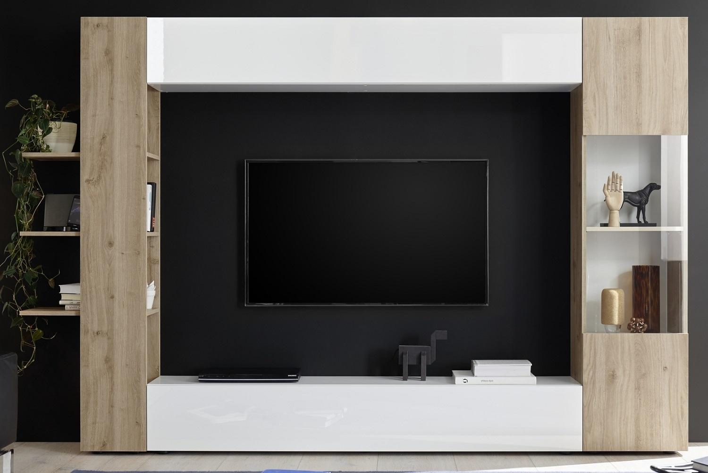Tv-wandmeubel Marina 295 cm breed in hoogglans wit met cadiz eiken | Pesaro Mobilia