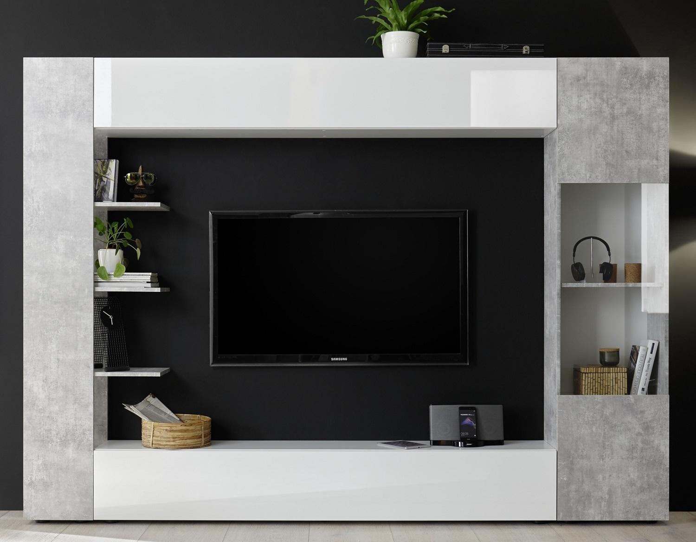 Tv-wandmeubel Marina 295 cm breed in hoogglans wit met grijs beton | Pesaro Mobilia