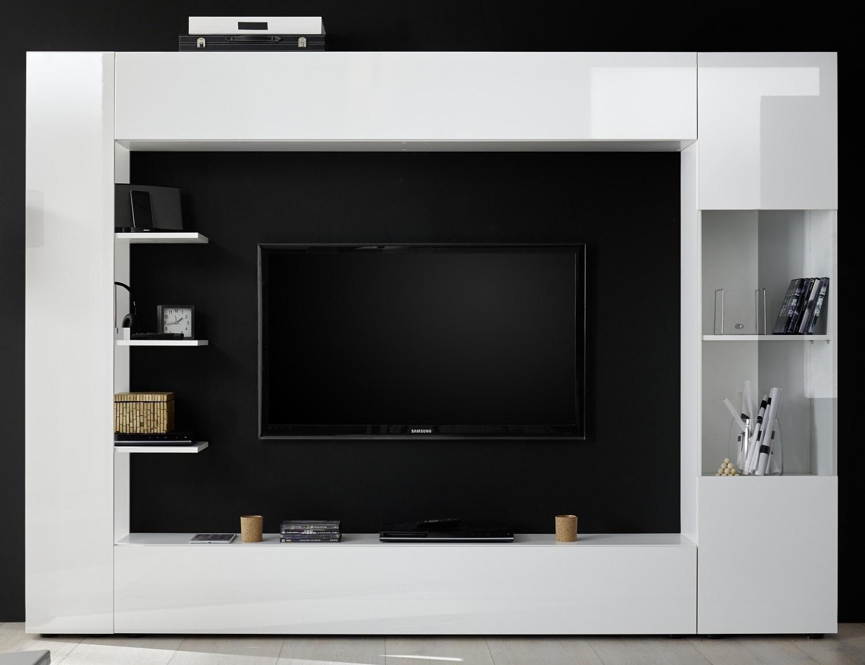 Tv-wandmeubel Marina 295 cm breed in hoogglans wit | Pesaro Mobilia