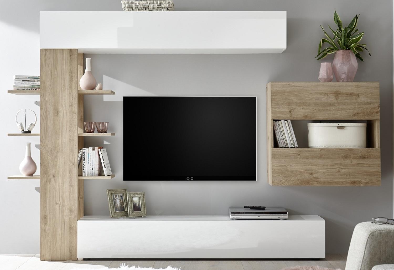 Tv-wandmeubel Morgan 295 cm breed in hoogglans wit met cadiz eiken | Pesaro Mobilia