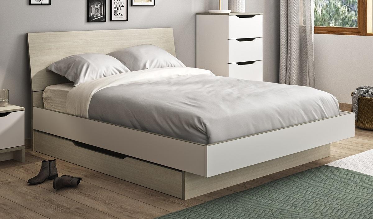 Tweepersoonsbed Gray 140x190cm in wit met eiken | Gamillo Furniture