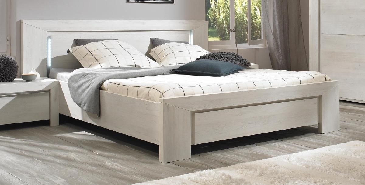 Tweepersoonsbed Sarlat 140x190cm in gekalkte kersenhout | Gamillo Furniture