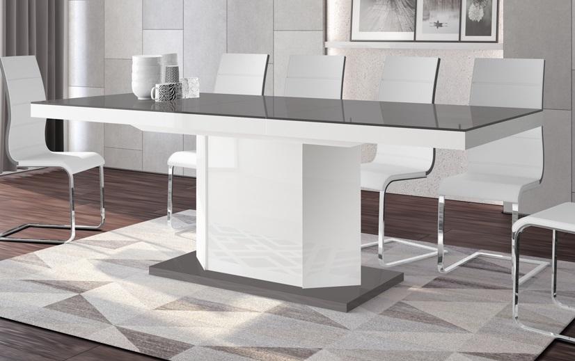 Uitschuifbare eettafel Amigo 140 tot 236 cm breed in hoogglans grijs met wit | Hubertus Meble