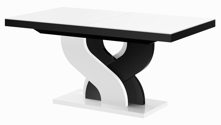 Uitschuifbare eettafel Bella 160 tot 256 cm breed in hoogglans wit met zwart | Hubertus Meble