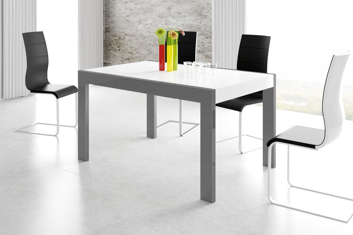 Uitschuifbare eettafel Imperia 160 tot 260 cm breed in hoogglans wit met grafiet grijs | Hubertus Meble
