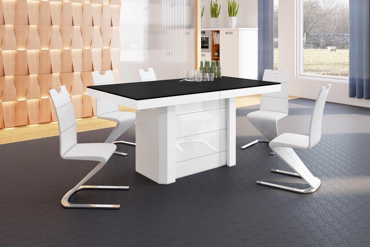 Uitschuifbare eettafel Kolos 140 tot 332 cm breed in mat zwart met wit | Hubertus Meble