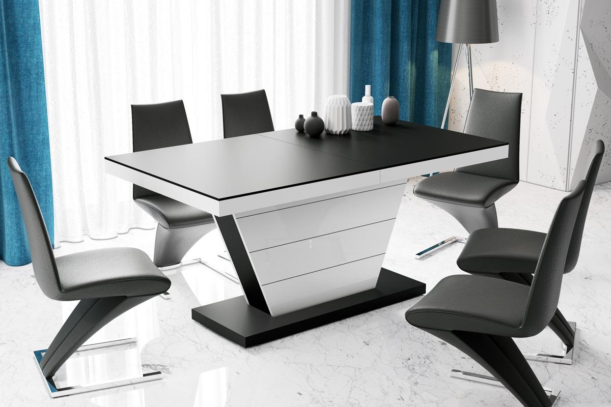 Uitschuifbare eettafel Vega 160 tot 256 cm breed in mat zwart met hoogglans wit | Hubertus Meble