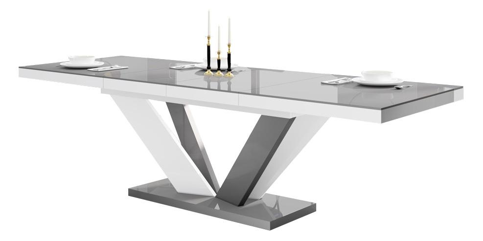 Uitschuifbare eettafel Vespa 160 tot 256 cm breed in hoogglans grijs met wit | Hubertus Meble