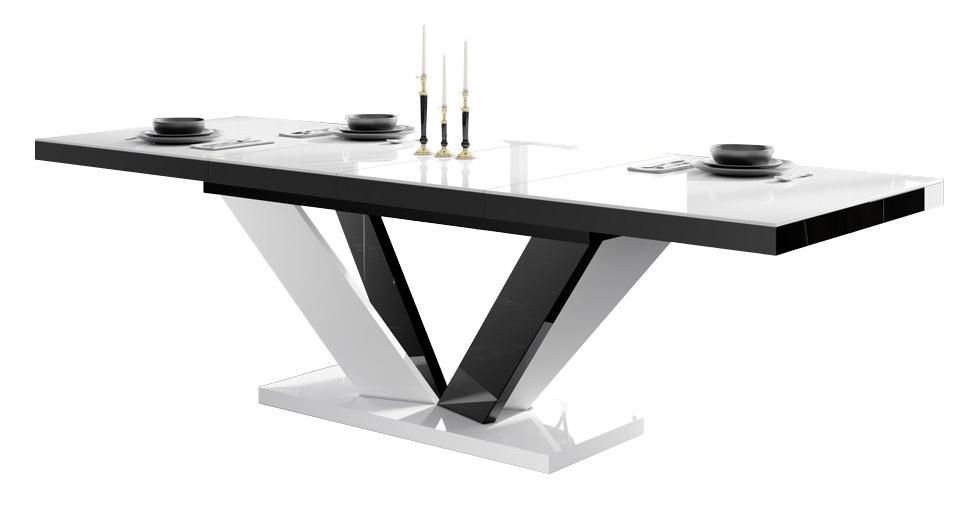 Uitschuifbare eettafel Vespa 160 tot 256 cm breed in hoogglans wit met zwart | Hubertus Meble