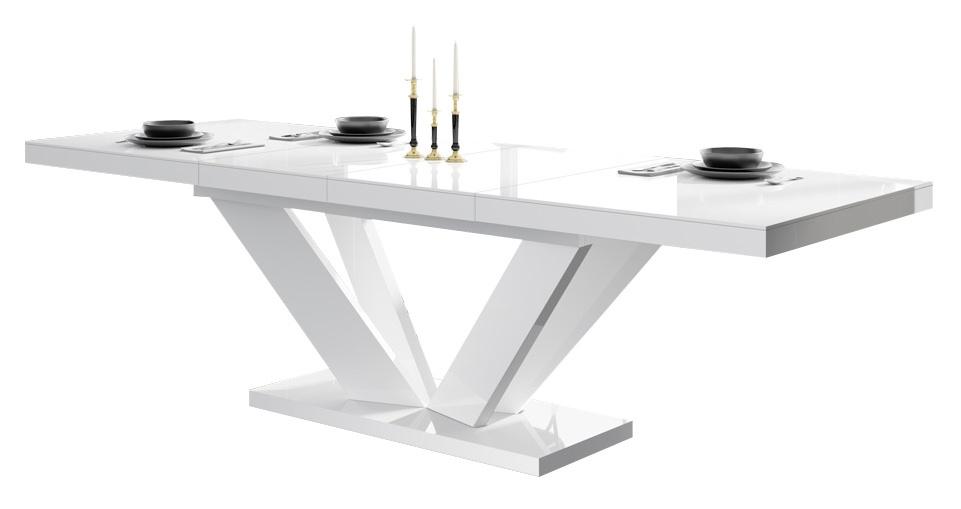 Uitschuifbare eettafel Vespa 160 tot 256 cm breed in hoogglans wit | Hubertus Meble