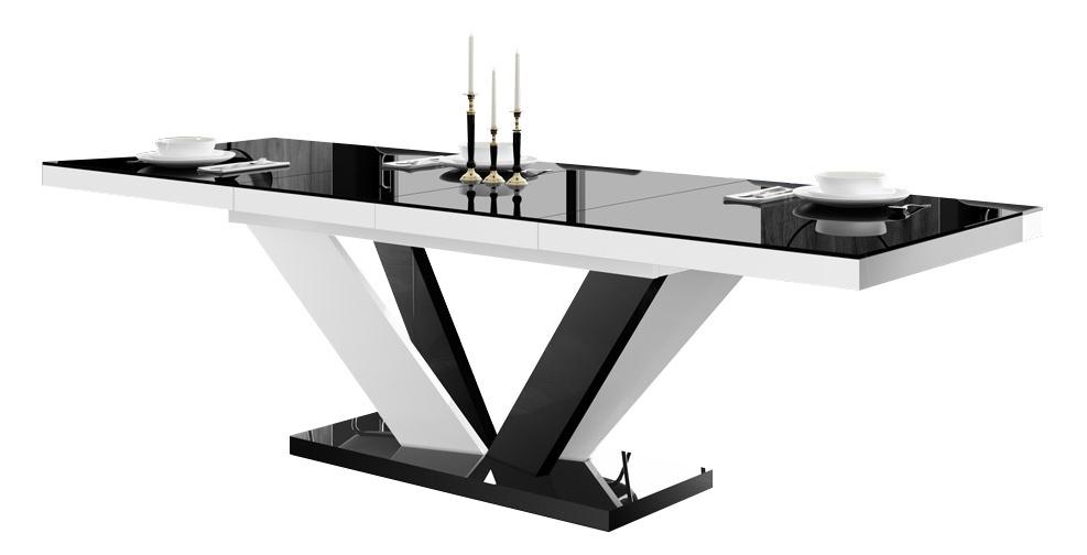 Uitschuifbare eettafel Vespa 160 tot 256 cm breed in hoogglans zwart met wit | Hubertus Meble