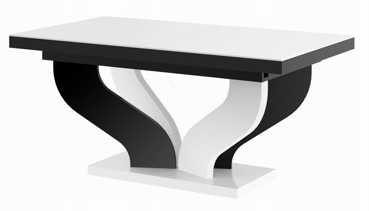 Uitschuifbare eettafel Viva 160 tot 256 cm breed in hoogglans wit met zwart | Hubertus Meble