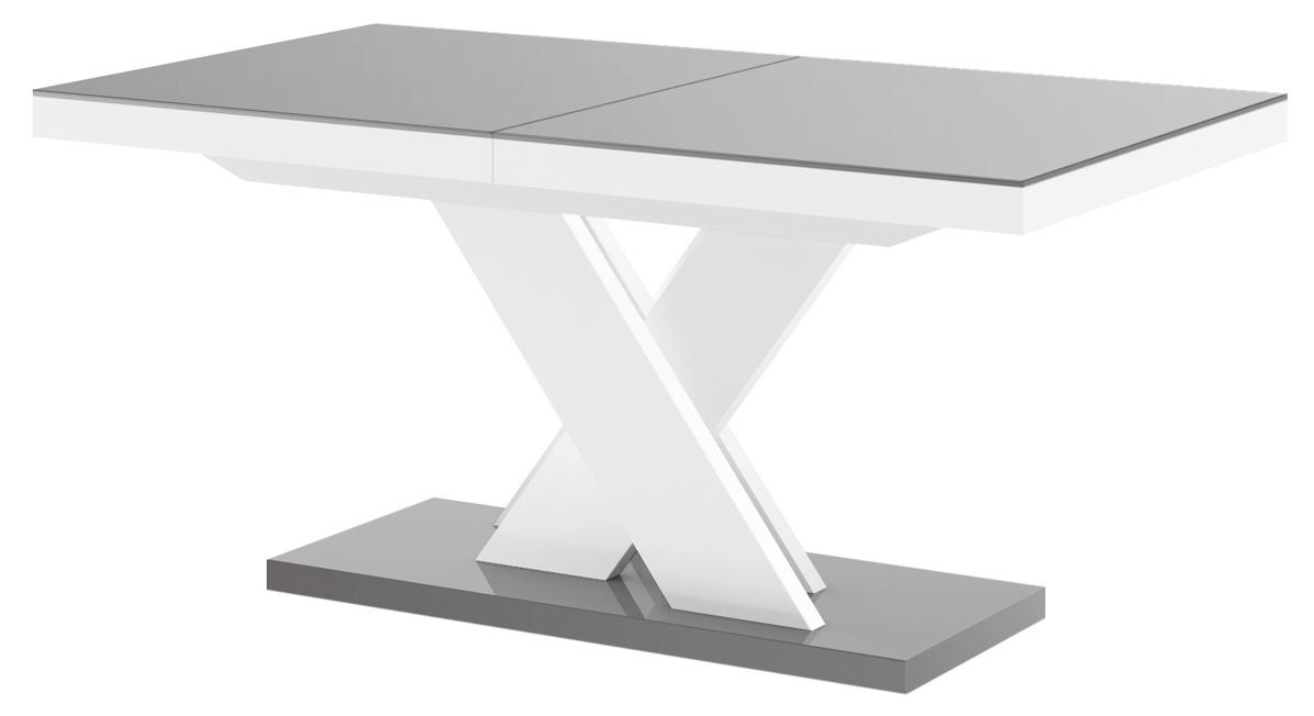 Uitschuifbare eettafel Xenon lux 160 tot 256 cm breed in hoogglans grijs met wit | Hubertus Meble
