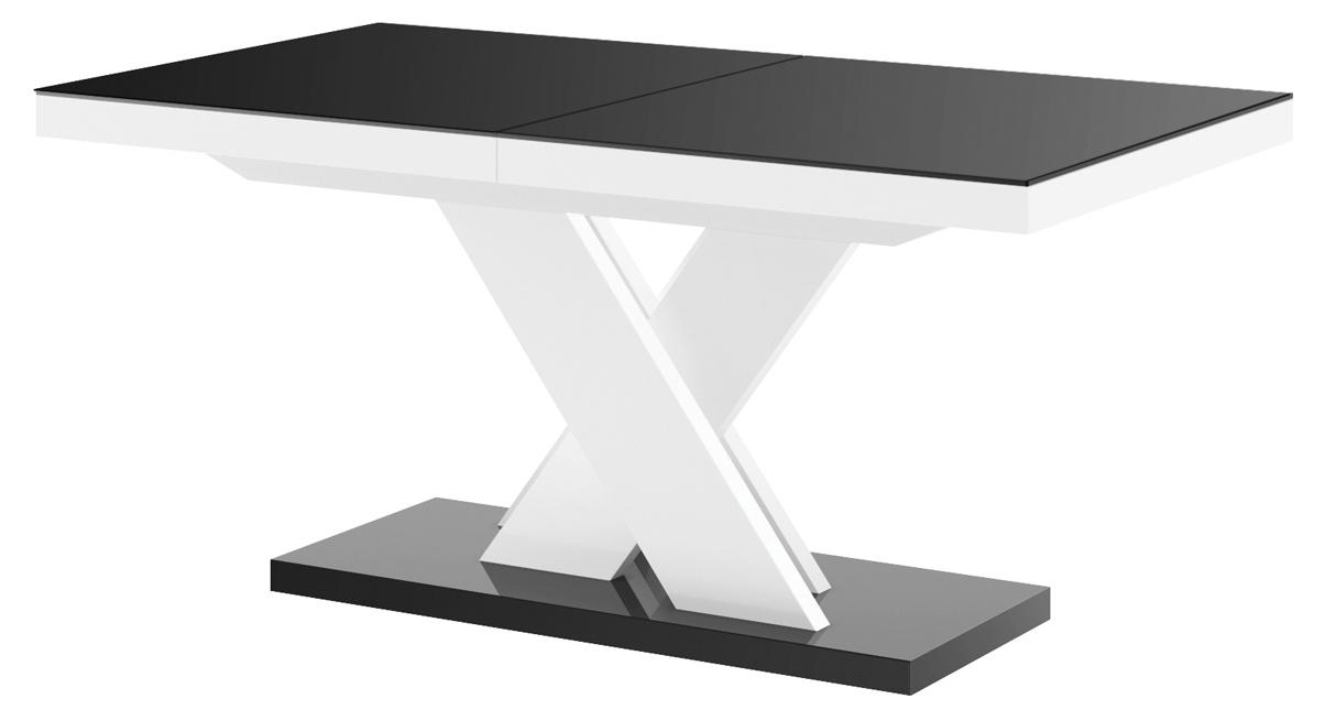 Uitschuifbare eettafel Xenon lux 160 tot 256 cm breed in hoogglans zwart met wit | Hubertus Meble