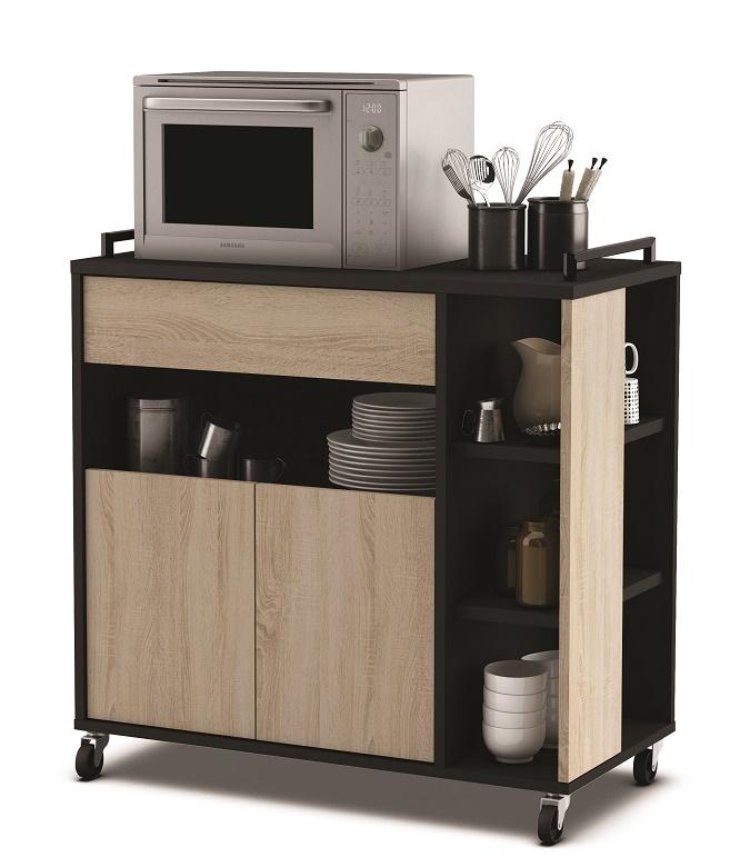 Verrijdbaar keukenkast Indus 77 cm hoog in eiken met zwart | Young Furniture