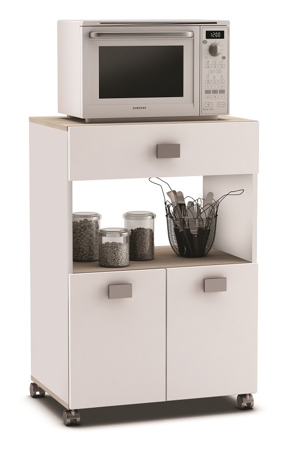 Verrijdbaar keukenkast Roma 90 cm hoog in wit | Young Furniture