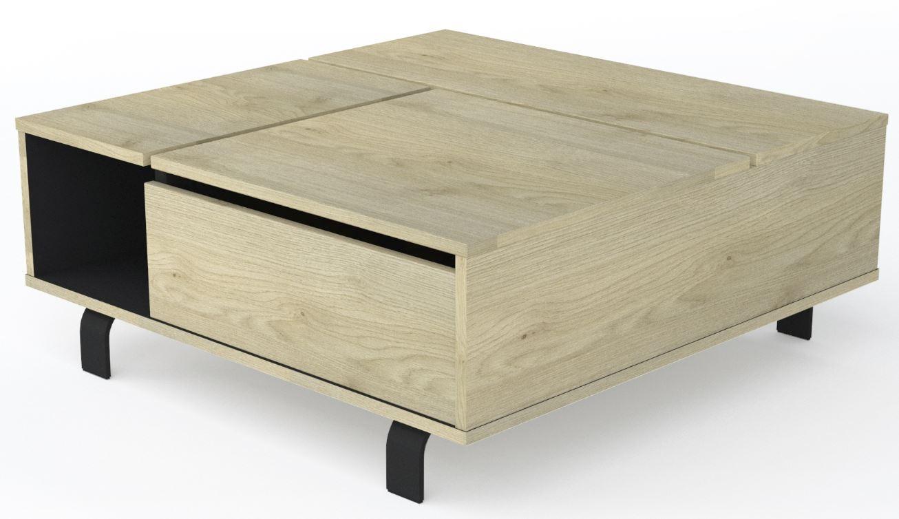 Vierkante Salontafel Rush 90x37x90 cm breed – naturel eiken | Ameubelment