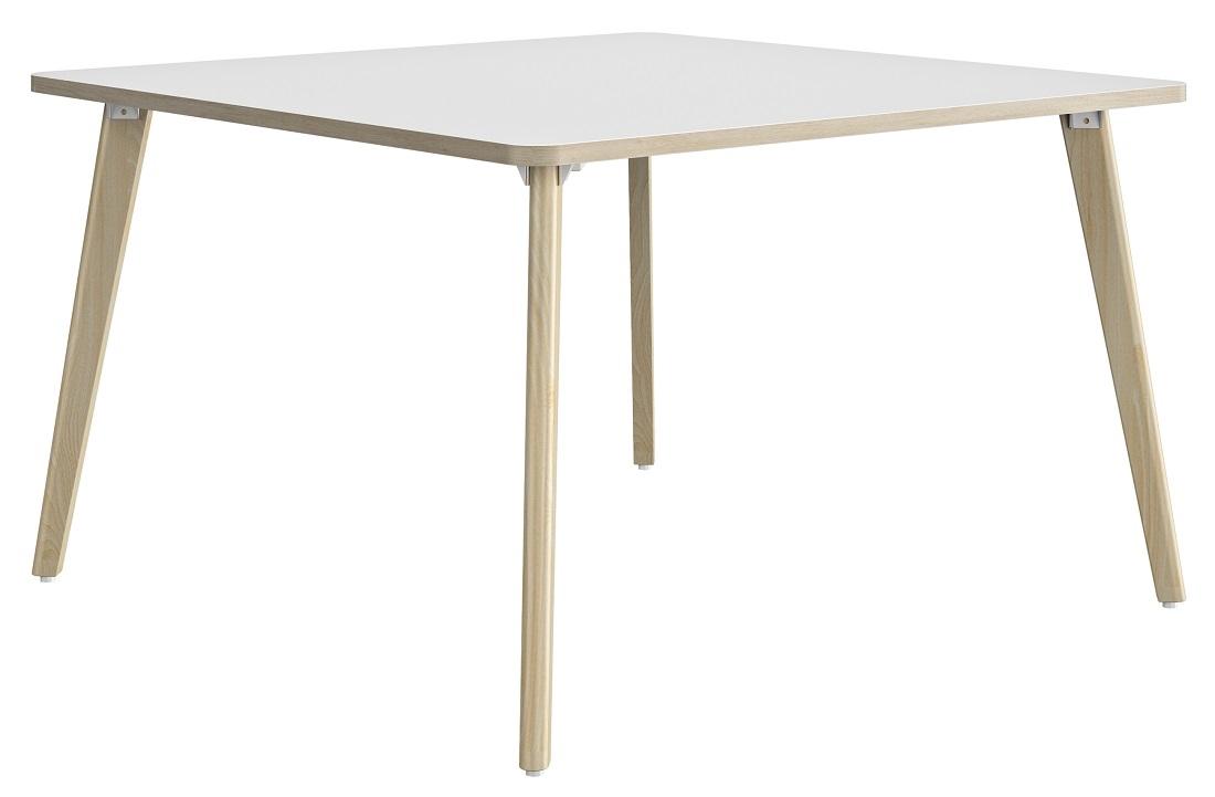 Vierkante bureau tafel Artefact 140 cm breed in wit met eiken   Gamillo Furniture