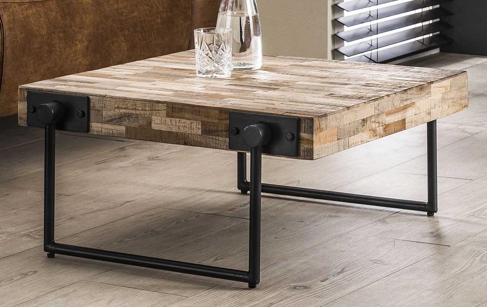 Vierkante salontafel Emmo 70x33x70 cm breed – Teakhout verweerd | Zaloni
