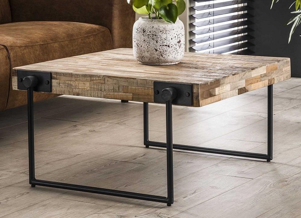 Vierkante salontafel Emmo 80x43x80 cm breed – Teakhout verweerd | Zaloni