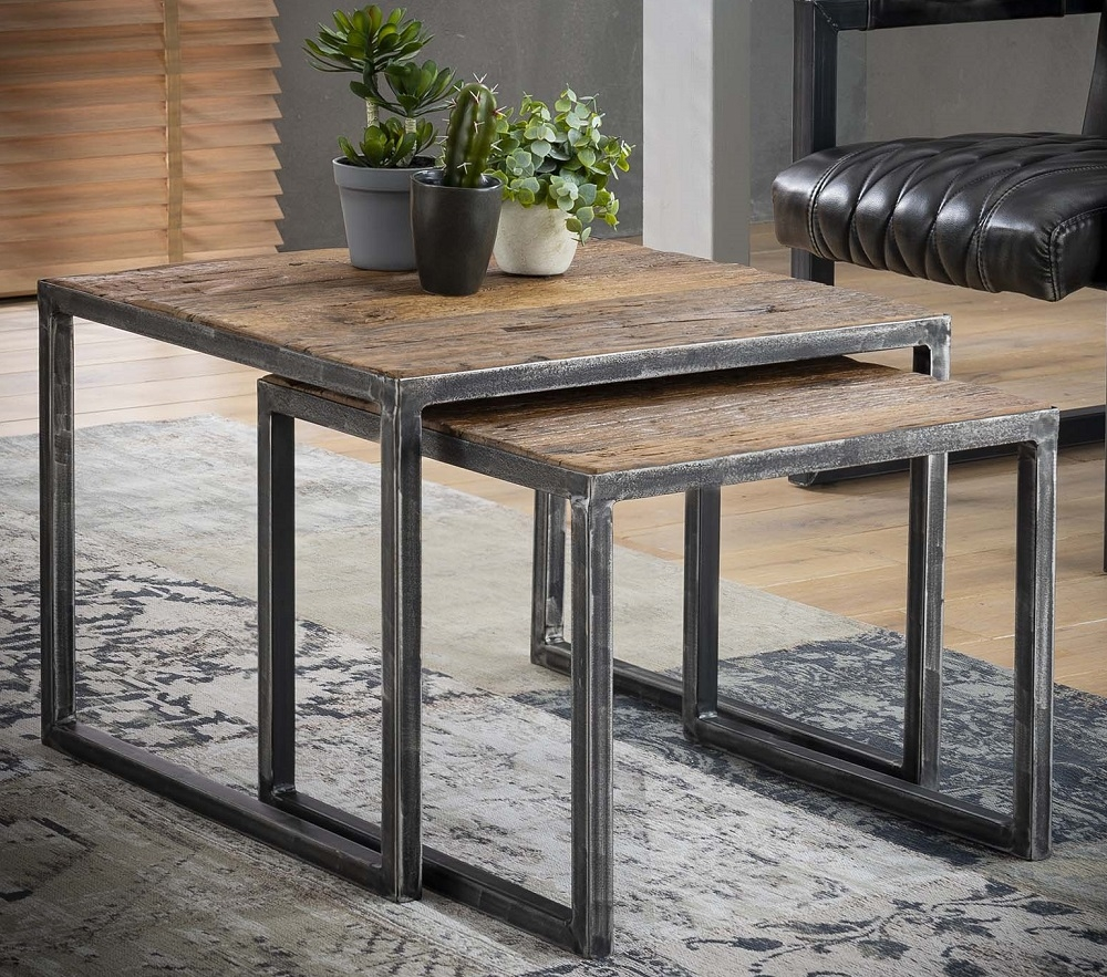 Vierkante salontafel Set Grained – Robuust hardhout | Zaloni