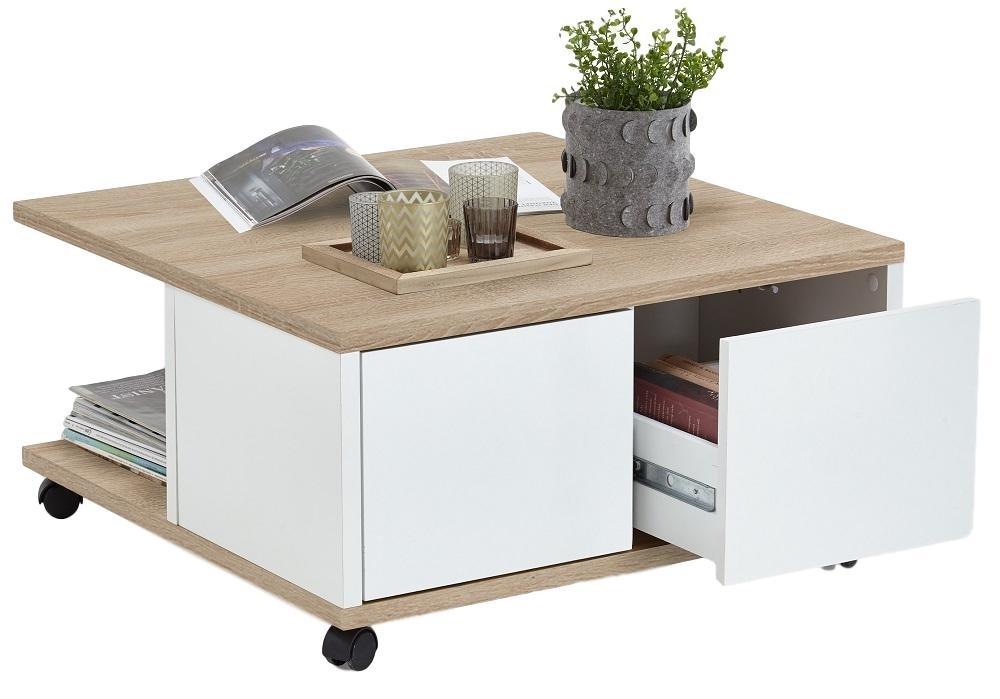 Vierkante salontafel Twin 70x36x70 breed in eiken met wit | FD Furniture