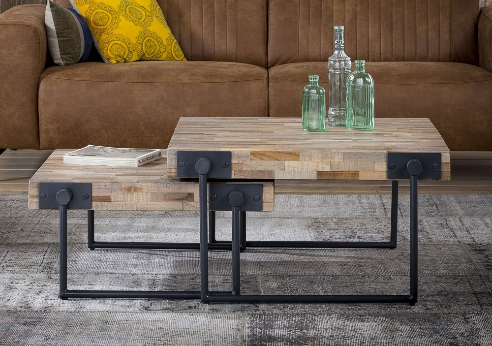 Vierkante salontafel set Emmo in teakhout verweerd | Zaloni