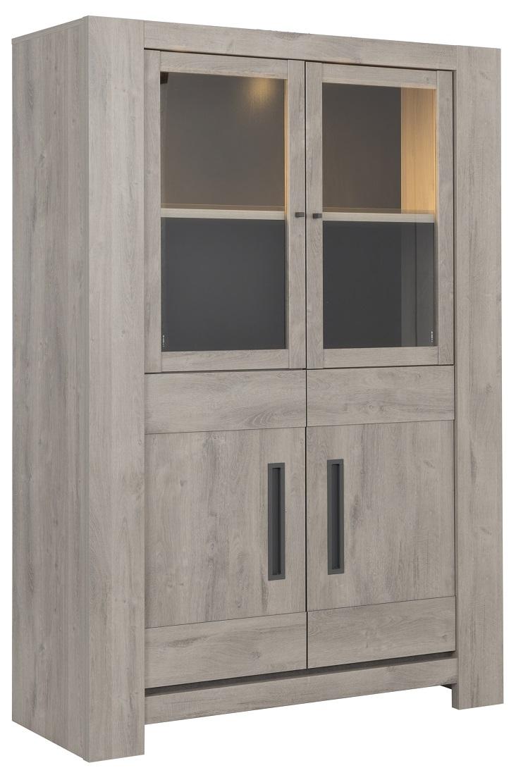 Vitrinekast Boston Large van 181 cm hoog in licht grijs eiken   Gamillo Furniture