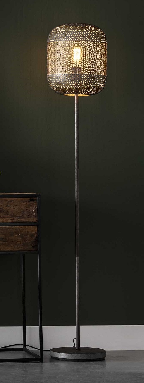 Vloerlamp Lampion 164 cm hoog in oud zilver | Zaloni