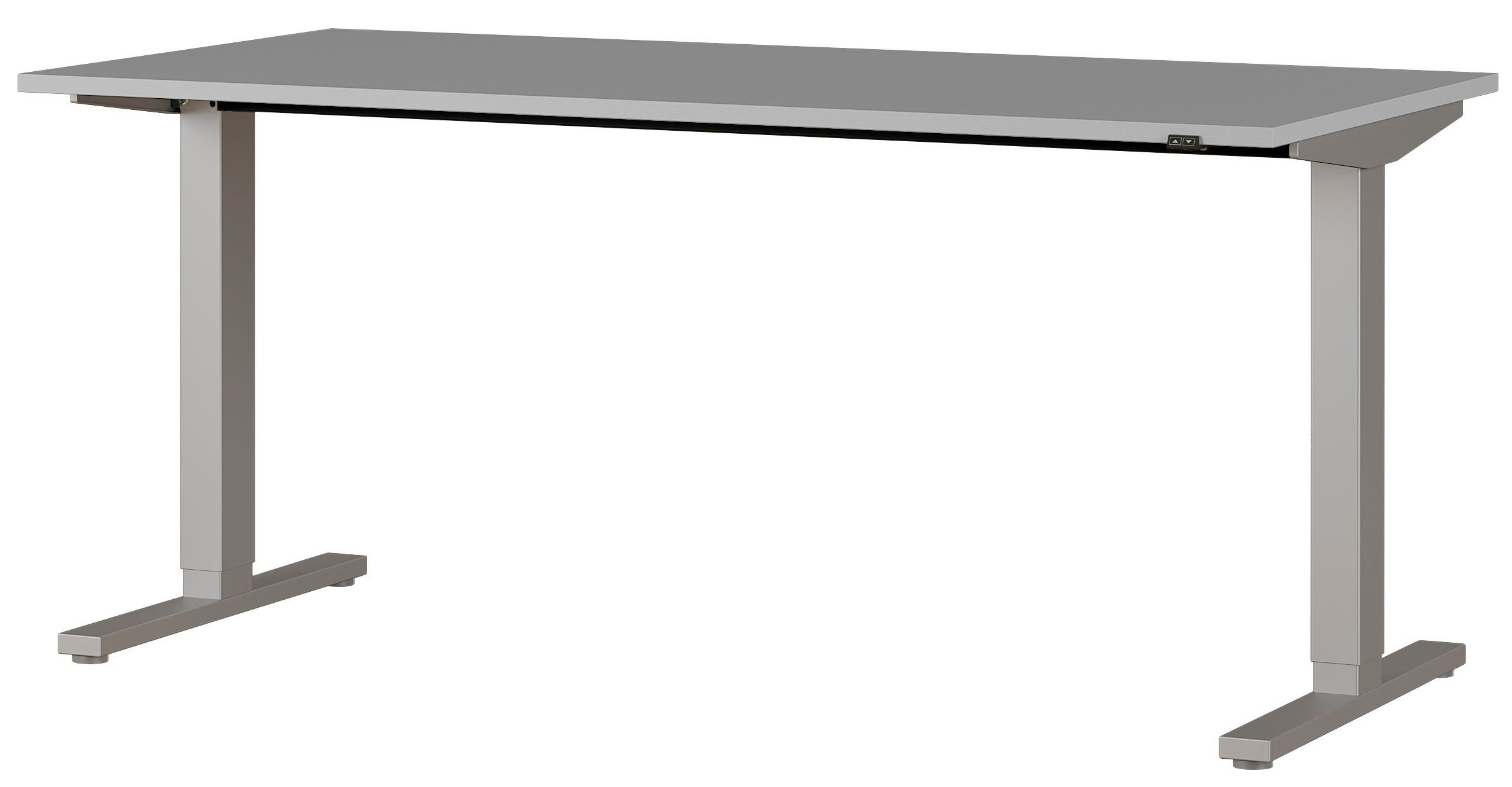 Zit sta bureau Agenda B160xH67-87xD80 cm in lichtgrijs met zilver | Germania