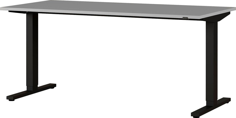 Zit sta bureau Agenda B180xH73-120xD80 cm in lichtgrijs met zwart | Germania