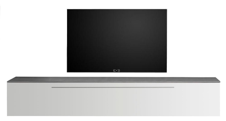Zwevend Tv-meubel Tesla 210 cm breed in hoogglans wit met grijs beton | Pesaro Mobilia