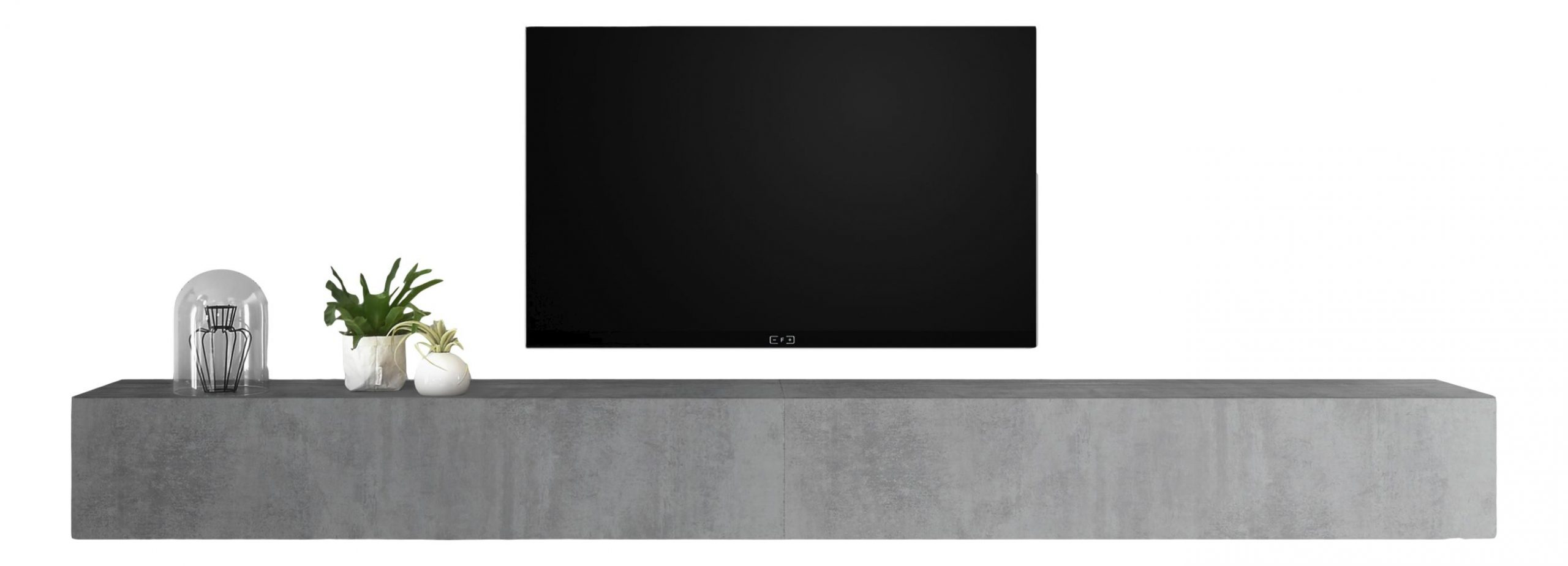 Zwevend Tv-meubel Tesla 276 cm breed in grijs beton | Pesaro Mobilia