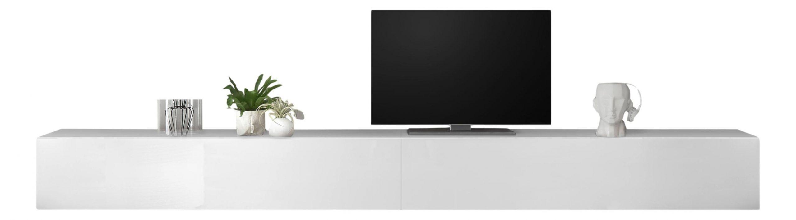 Zwevend Tv-meubel Tesla 276 cm breed in hoogglans wit | Pesaro Mobilia